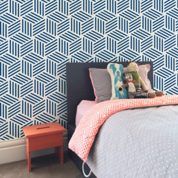 Cube wallpaper in blue in a childs bedroom