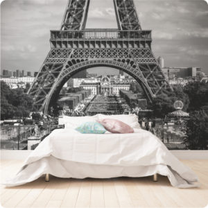 Paris removable mural behind a bed