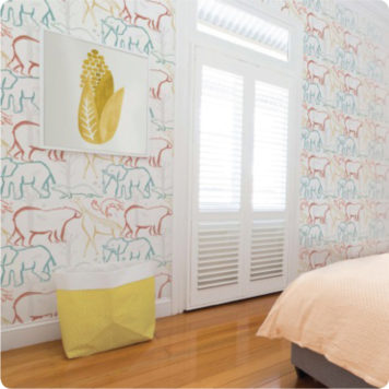 Animals removable wallpaper in a bedroom