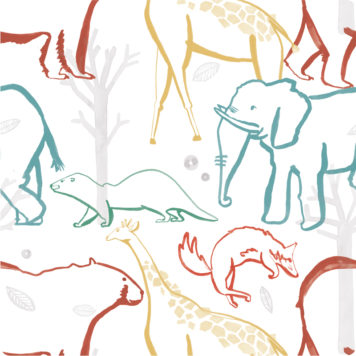 Animals removable wallpaper sample in different colours