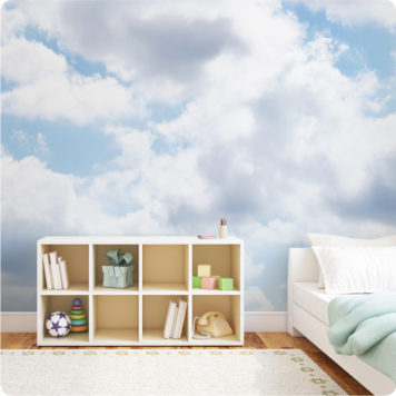 Clouds wall mural in a bedroom