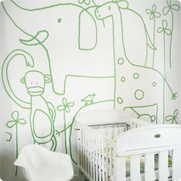 Jane Reseiger Zoo removable wall mural in nursery room