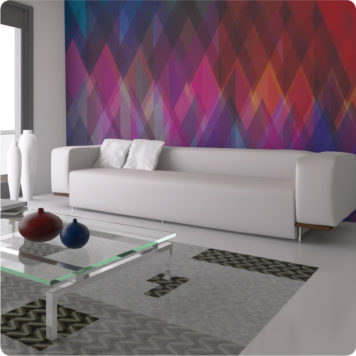 Matrix wall mural behind a white sofa in a living room