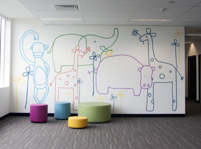 Jane Reseiger Zoo removable wall mural in bright colours