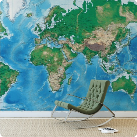 Detailed World Map with a rocking chair in front