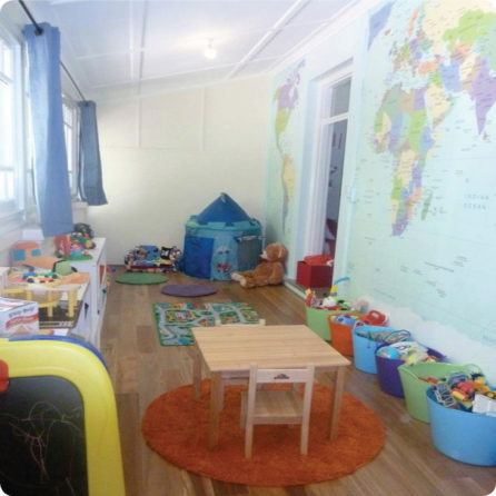 World Map removable mural in a playroom
