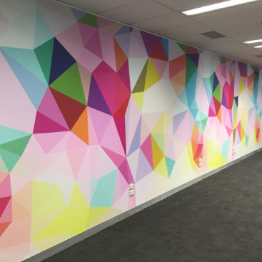 Colourful mural in an office