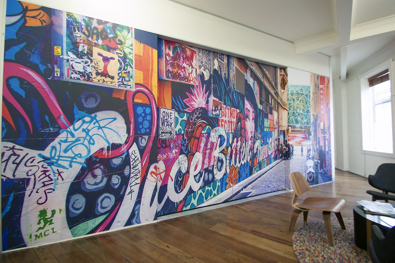 Colourful photographic mural on a wall ni a office