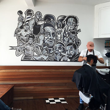 Custom wall decals in a barber shop
