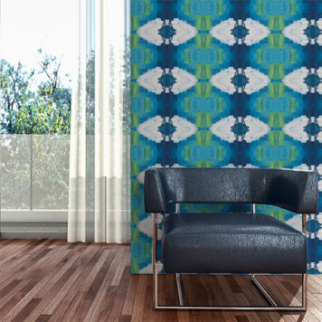 Blue and green Diamonds wallpaper in a living area