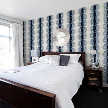 A modern designer master bedroom