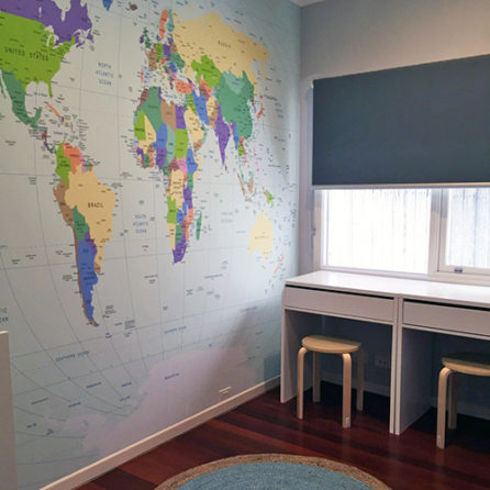World Map removable mural in a home office