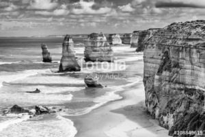 Australia Mural Image - 12 Apostles Black and White