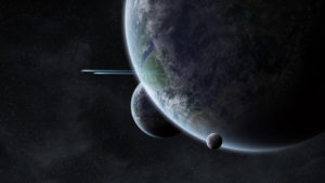 Amazing Planet Mural Image - Earth and Moon