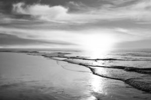 Custom Beach Mural Image - Black and White Sunset