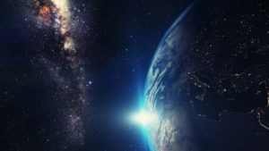 Amazing Planet Mural Image - Earth and Milky Way