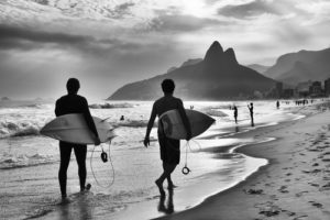 Custom Sports Mural Image - Walking Surfers