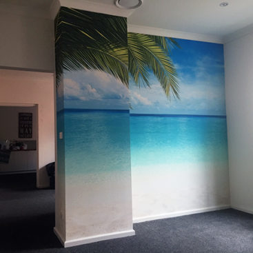 Yoga studio mural of a beach