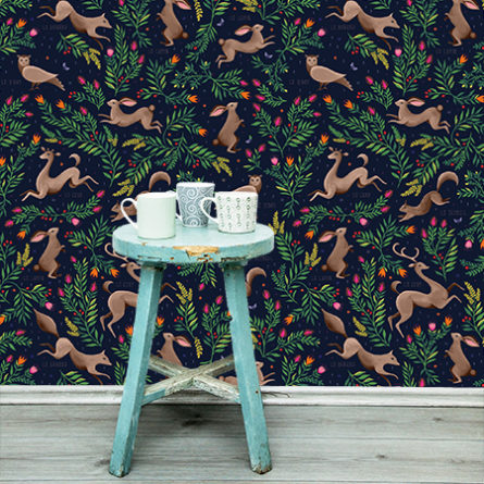 Fleur Harris Woodlands removable wallpaper in Navy colour way