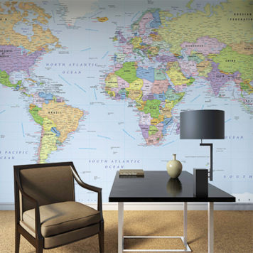 World Sea Map mural in a study or office