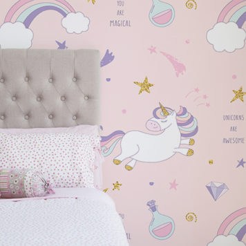 Rainbow Unicorn wallpaper in a girls bedroom