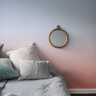 Ombre wallpaper in a bedroom in Summer morning colour way