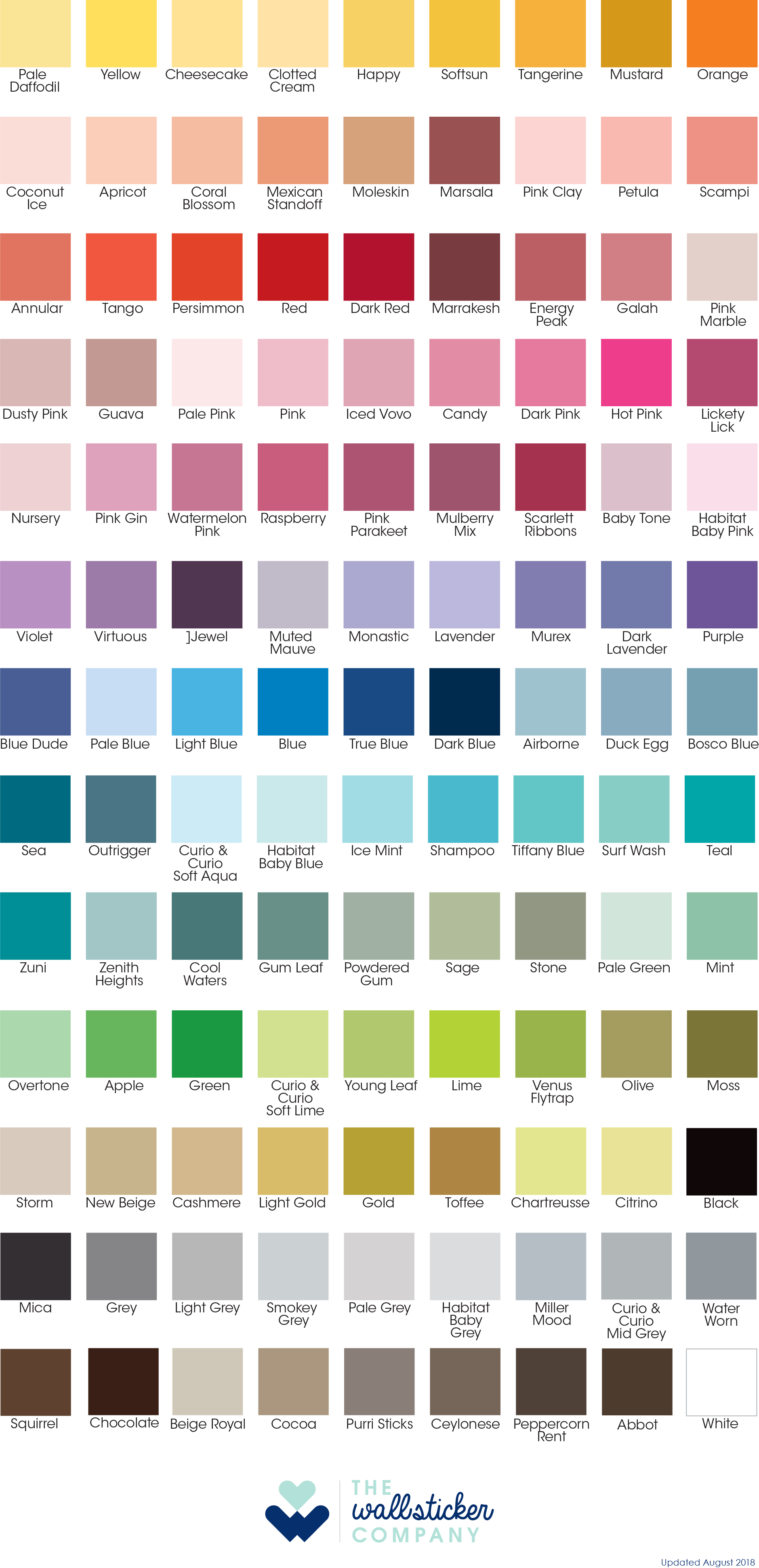 Choose colours from our Colour Chart