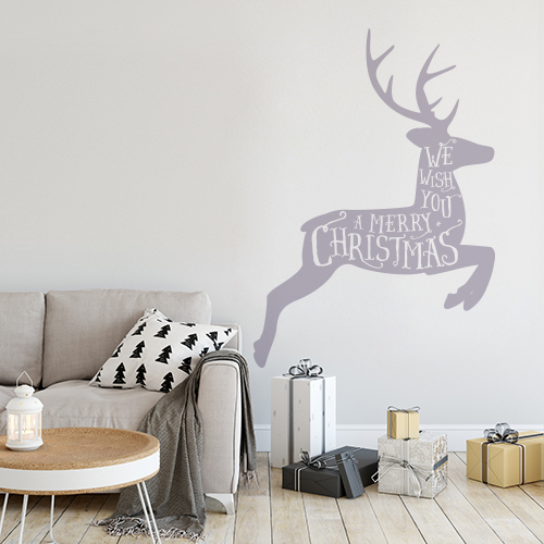 Reindeer wall sticker in Muted Mauve in a room decorated for Christmas