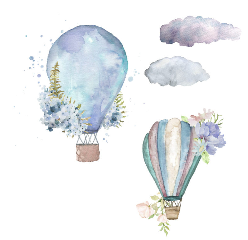 Hot Air Balloons in blues