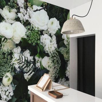 white rose mural