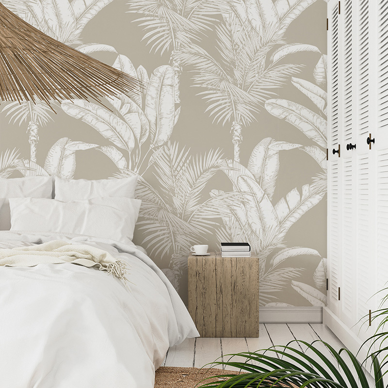 Palm Play in New Beige and White