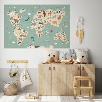 Animals World Map decal