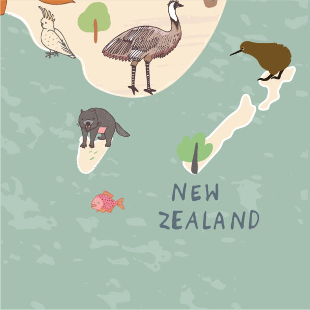 Animals World Map with New Zealand