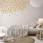 Mock up posters on minimalism pastel wall , hipster bedroom, 3d
