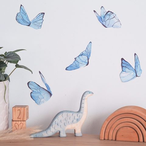 Watercolour butterflies in blue from Jasmine illustrations