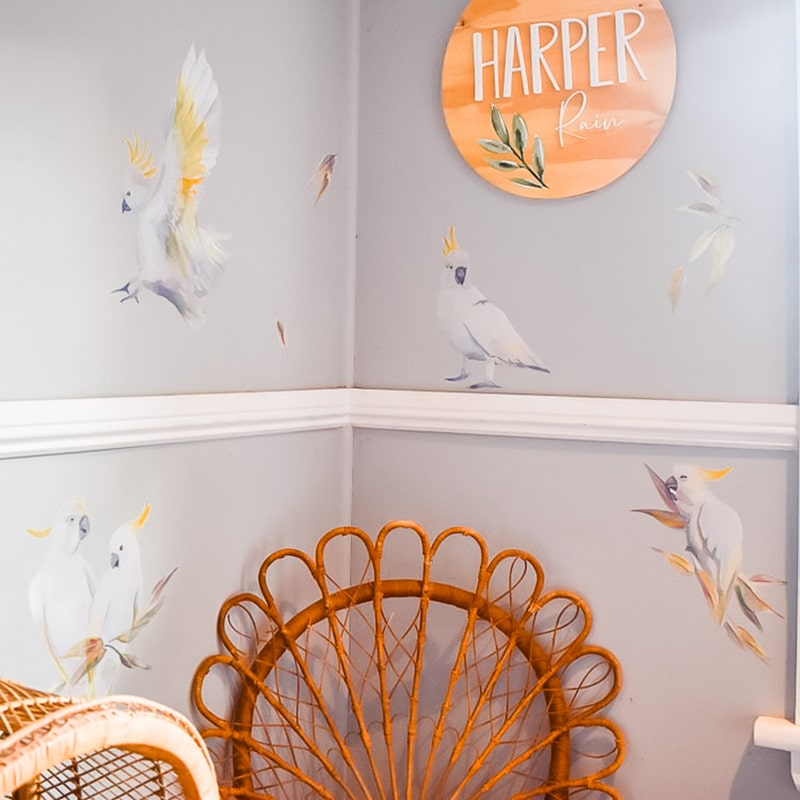 Golden Crested Watercolour Cockatoos Wall Stickers & Decals By Jasmine Illustrations