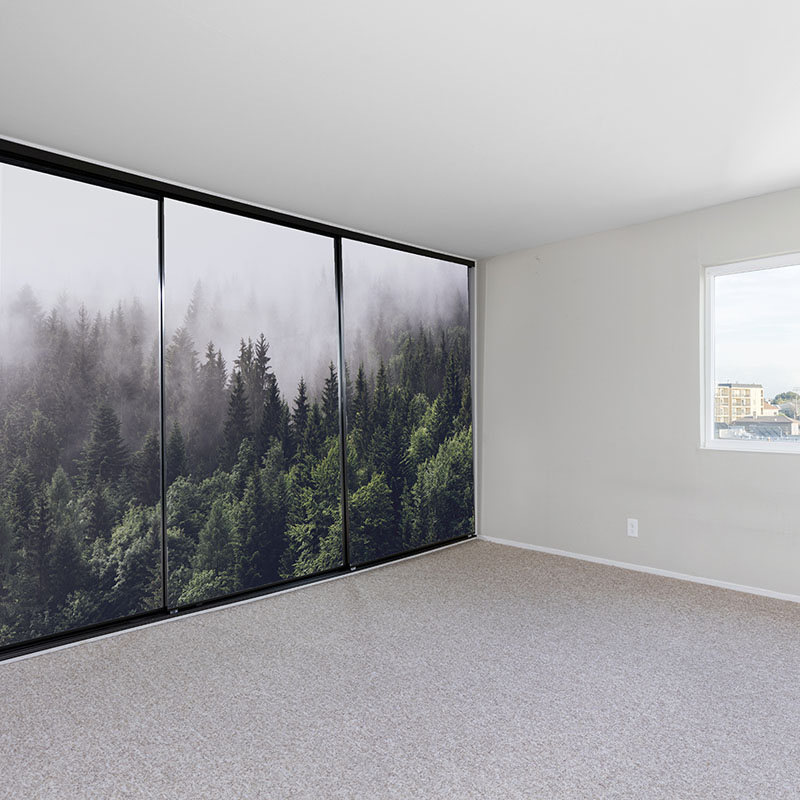 Cupboard doors covered by a forest mural